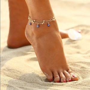 Spiritual Evil Eye Gold Toned Anklet